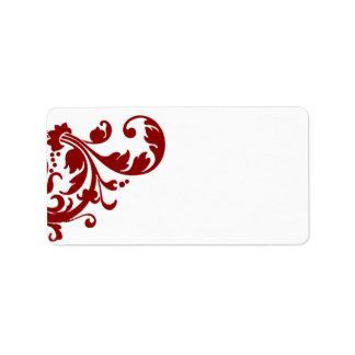 """1,25 rojos carmesís de la dirección del correo """" etiquetas de dirección"""