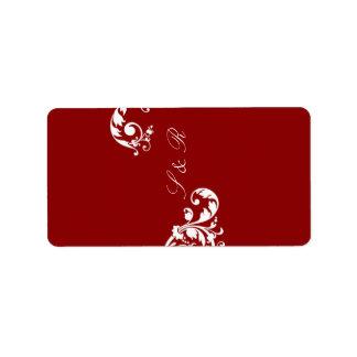 """1,25 rojos carmesís miniatura de """" x2.75"""" Hershey Etiqueta De Dirección"""