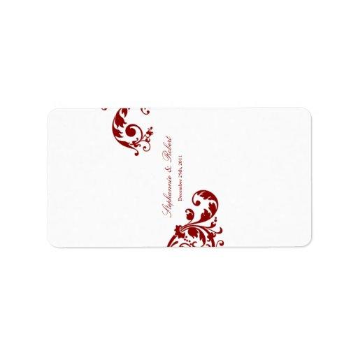 """1,25 rojos carmesís miniatura de """" x2.75"""" Hershey Etiquetas De Dirección"""
