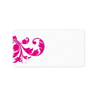 """1,25 rosas fuertes de la dirección del correo """" etiquetas de dirección"""