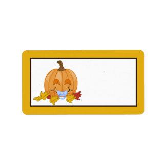 1,25 vagos de la calabaza de la caída del otoño de etiquetas de dirección