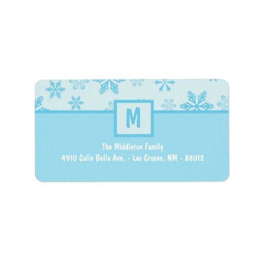 """1.25""""x2.75"""" Blue Snowflakes Stick On Mailing Label"""