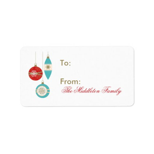 "1.25""x2.75"" Christmas Ornament Stick On Gift Tag Address Label"