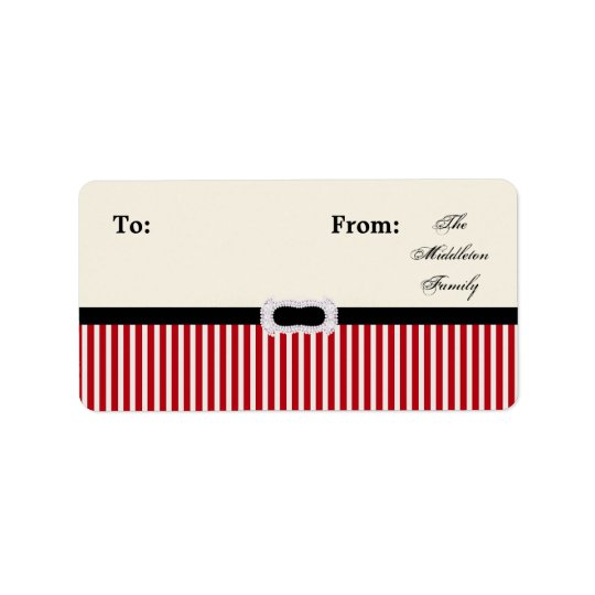"""1.25""""x2.75"""" Christmas Striped Stick On Gift Tag"""