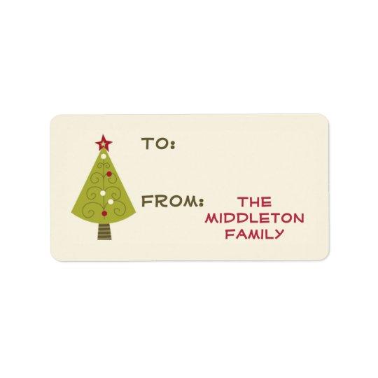"1.25""x2.75"" Christmas XMAS Tree Stick On Gift Tag"