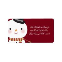 "1.25""x2.75"" Crimson Red Snowman Mailing Address Address Label"