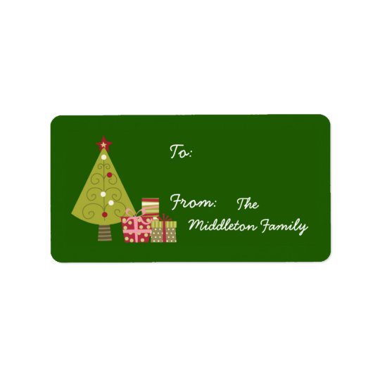 "1.25""x2.75"" Green XMAS Tree Stick On Gift Tag"