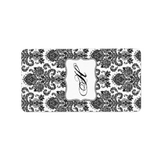 "1.25""x2.75"" Hershey's Miniature Black White Damask Address Label"