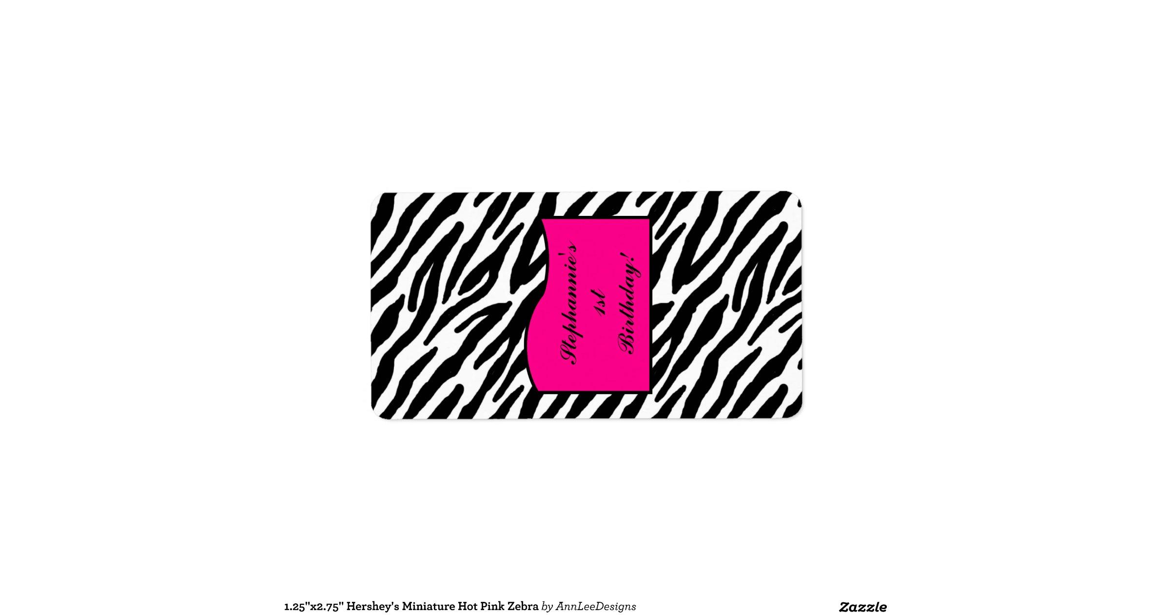 25_x2_75_hersheys_miniature_hot_pink_zebra_address_label ...