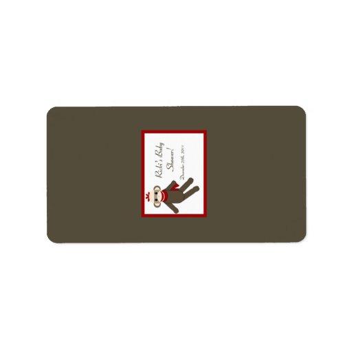 "1.25""x2.75"" Hershey's Miniature Red Sock Monkey Label"