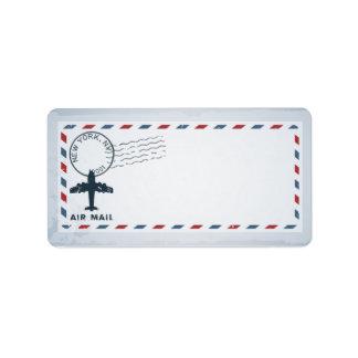 "1.25""x2.75"" Mailing Address Air Mail Plane USPS Po Address Label"