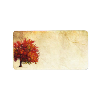 "1.25""x2.75"" Mailing Address Fall Tree Aged Paper Personalized Address Label"