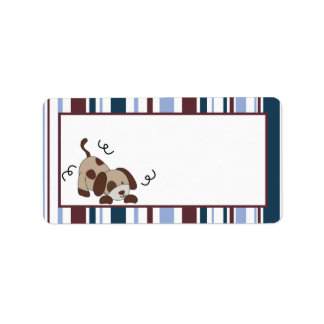 "1.25""x2.75"" Mailing Address Lil League Puppy Dog Address Label"