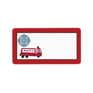 "1.25""x2.75"" Mailing Address Nojo Fire Engine Label"