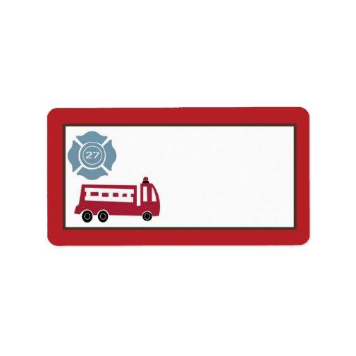 "1.25""x2.75"" Mailing Address Nojo Fire Engine Address Label"