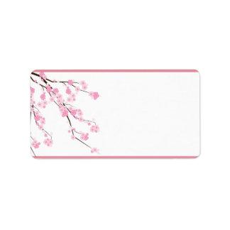 "1.25""x2.75"" Mailing Address Pink Cherry Blossom Label"