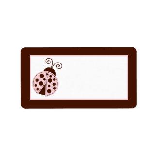 """1.25""""x2.75"""" Mailing Address Pink Ladybug Label"""