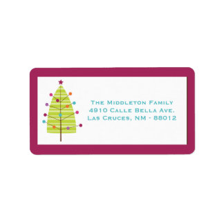 "1.25""x2.75"" Modern Christma Tree Mailing Label"