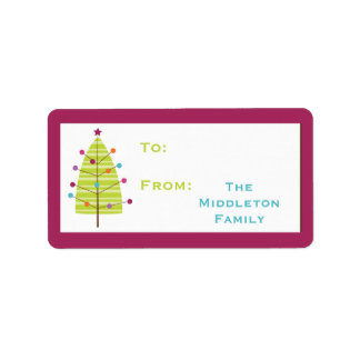 "1.25""x2.75"" Modern Christma Tree Stick On Gift Tag"