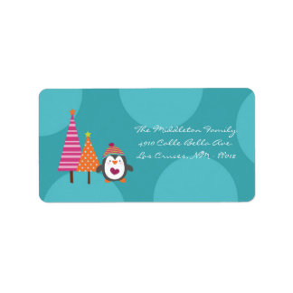 "1.25""x2.75"" Modern Penguin Tree Mailing Label"