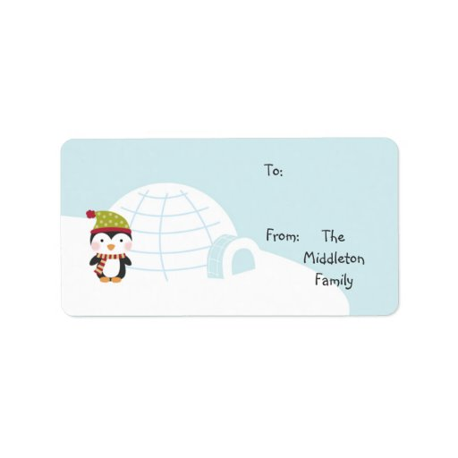 """1.25""""x2.75"""" Penguins Igloo Stick On Gift Tag Label"""