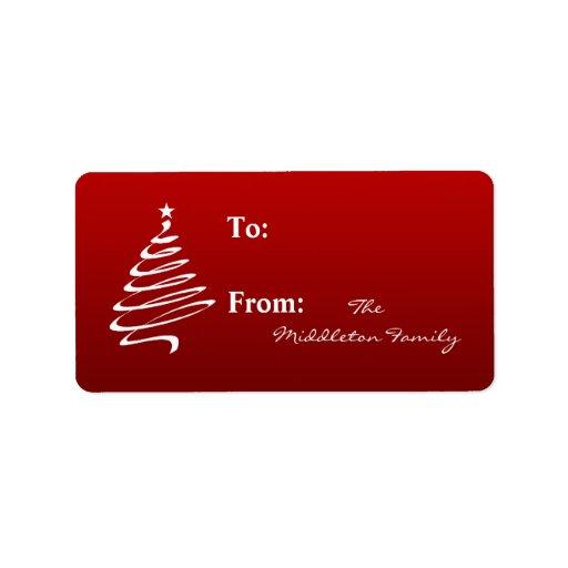 "1.25""x2.75"" Red White XMAS Tree Stick On Gift Tag Address Label"