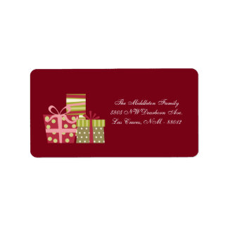 "1.25""x2.75"" Red XMAS Presents Mailing Address Custom Address Labels"