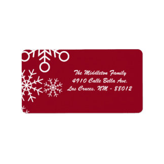 "1.25""x2.75"" Red XMAS Snowflake Mailing Address Address Label"