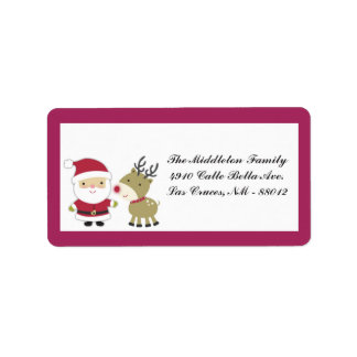 "1.25""x2.75"" Santa Rudolf Reindee Mailing Address Custom Address Label"