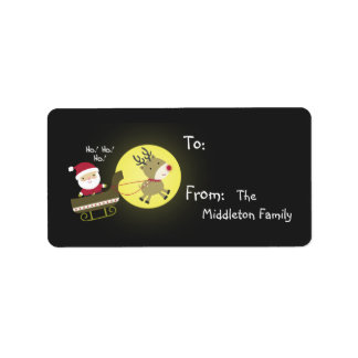 "1.25""x2.75"" Santa Rudolf Reindee Stick On Gift Tag Personalized Address Labels"