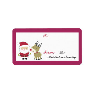 "1.25""x2.75"" Santa Rudolf Reindee Stick On Gift Tag Custom Address Labels"