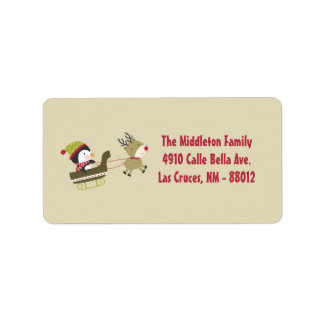 "1.25""x2.75"" Tan Penguin Rudolf Mailing Address Personalized Address Label"