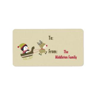 "1.25""x2.75"" Tan Penguin Rudolf Stick On Gift Tag Address Label"