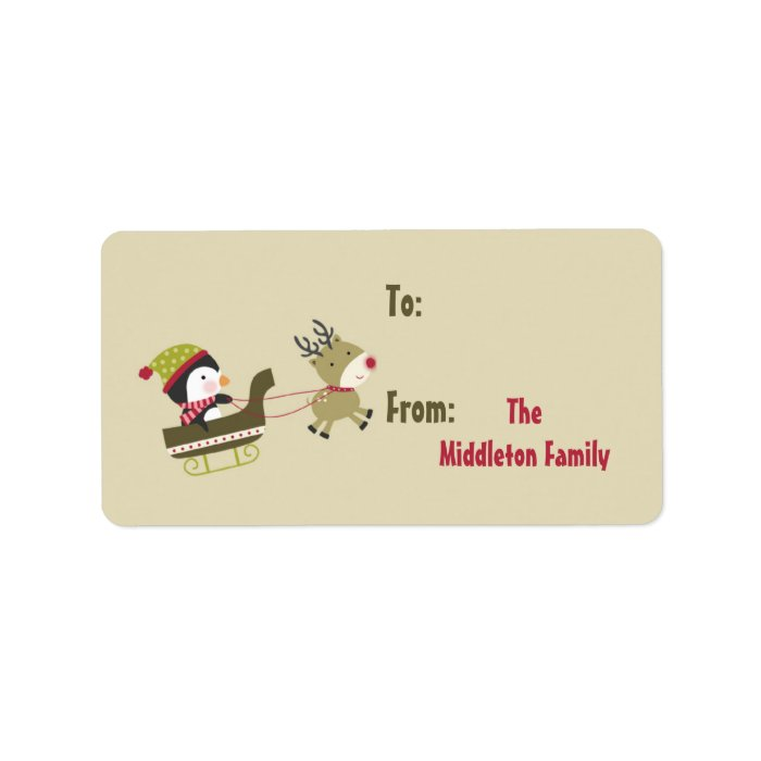 "1.25""x2.75"" Tan Penguin Rudolf Stick On Gift Tag Label"