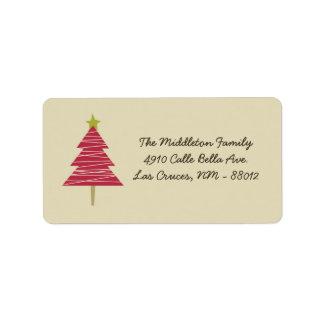 "1.25""x2.75"" Tan & Red XMAS Tree Mailing Address Address Label"