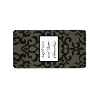 "1.25"" x 2.75"" Hershey's Miniature Black/Gray Damas Label"
