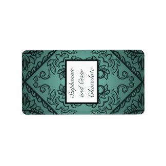 "1.25"" x 2.75"" Hershey's Miniature Teal Ornate Dama Label"