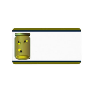 "1.25"" x 2.75"" Mailing Address Fireflies/Mason Jars Label"