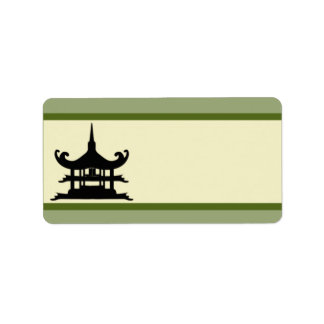 "1.25"" x 2.75"" Mailing Address Japanese Green Hill Label"