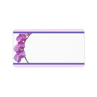 """1,25"""" x 2,75"""" orquídeas púrpuras de envío de la di etiqueta de dirección"""