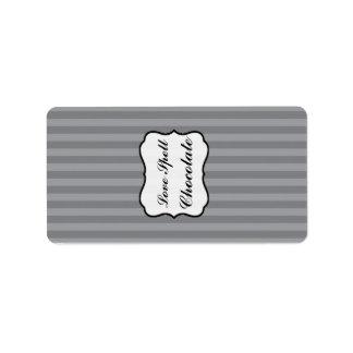 """1,25"""" x 2,75"""" rayas del gris de las aceitunas negr etiquetas de dirección"""