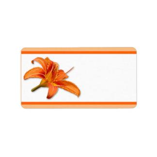 """1,25"""" x 2,75"""" tigre anaranjado de envío Lilly w de Etiquetas De Dirección"""