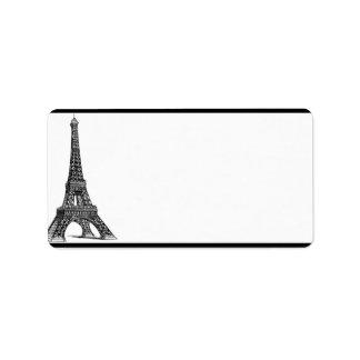 """1,25"""" x 2,75"""" torre Eiffel negra de envío de la Etiquetas De Dirección"""