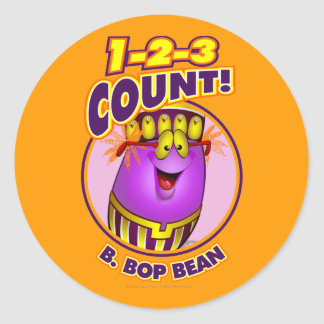 1-2-3 Count B. Bop Bean Classic Round Sticker