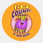 1-2-3 cuenta B. Bop Bean Pegatina Redonda