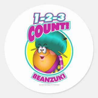 1-2-3 cuenta Beanzuki Pegatinas Redondas