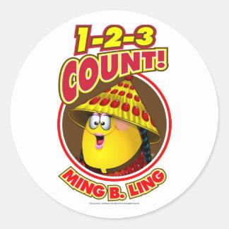 1-2-3 cuenta Ming B.Ling Etiquetas Redondas