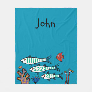 1, 2, 3 Fish with Little Fish and Coral Fleece Blanket