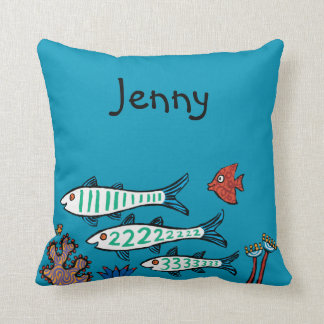 1, 2, 3 Fish with Little Fish and Coral Throw Pillow