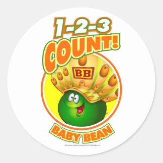 1-2-3 haba del bebé de la cuenta etiqueta redonda